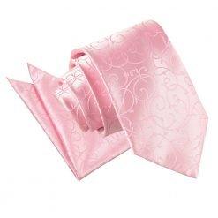 Baby Pink Swirl Tie & Pocket Square Set