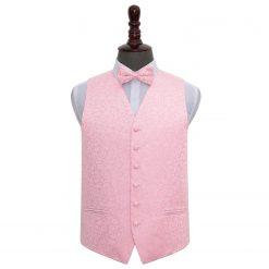 Baby Pink Swirl Wedding Waistcoat & Bow Tie Set