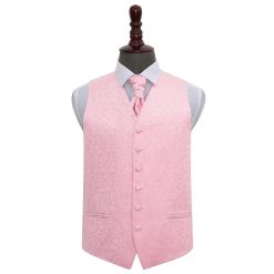 Baby Pink Swirl Wedding Waistcoat & Cravat Set