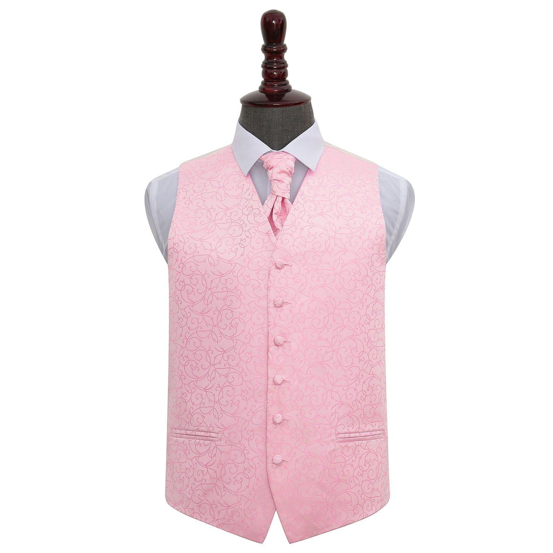 Men S Swirl Baby Pink Wedding Waistcoat Amp Cravat Set