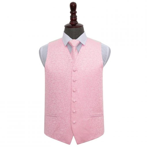 Baby Pink Swirl Wedding Waistcoat & Tie Set