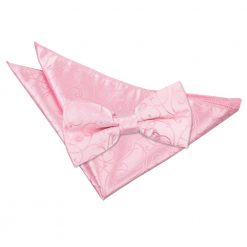 Baby Pink Swirl Bow Tie & Pocket Square Set