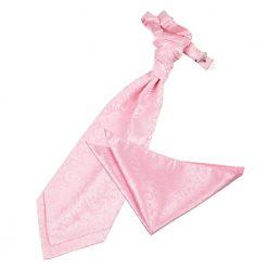 Baby Pink Swirl Wedding Cravat & Pocket Square Set