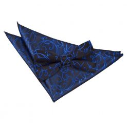 Black & Blue Swirl Bow Tie & Pocket Square Set