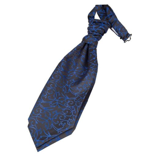 Black & Blue Swirl Pre-Tied Wedding Cravat for Boys
