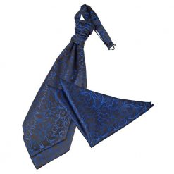 Black & Blue Swirl Wedding Cravat & Pocket Square Set