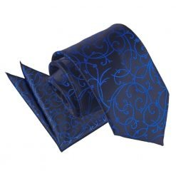 Black & Blue Swirl Tie & Pocket Square Set