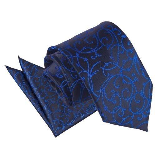 Black & Blue Swirl Tie & Pocket Square Set