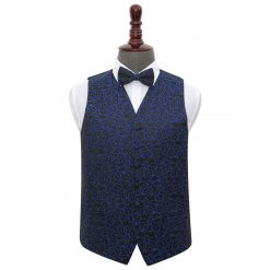 Black & Blue Swirl Wedding Waistcoat & Bow Tie Set