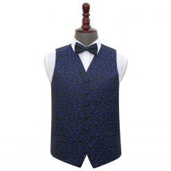 Black & Blue Swirl Wedding Waistcoat & Bow Tie Set