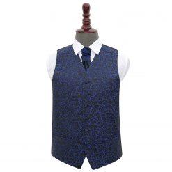 Black & Blue Swirl Wedding Waistcoat & Cravat Set