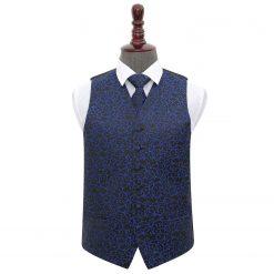 Black & Blue Swirl Wedding Waistcoat & Tie Set