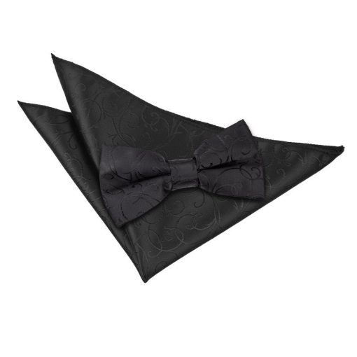 Black Swirl Bow Tie & Pocket Square Set