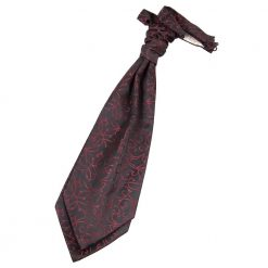 Black & Burgundy Swirl Pre-Tied Wedding Cravat