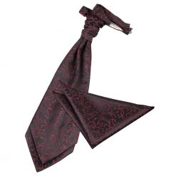 Black & Burgundy Swirl Wedding Cravat & Pocket Square Set