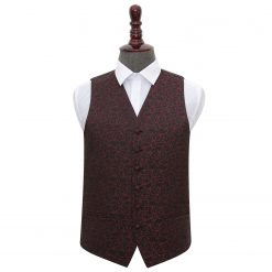 Black & Burgundy Swirl Wedding Waistcoat