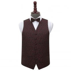 Black & Burgundy Swirl Wedding Waistcoat & Bow Tie Set