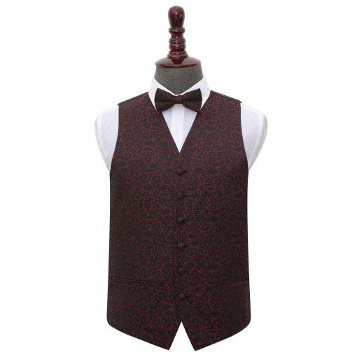 Black & Burgundy Swirl Wedding Waistcoat & Bow Tie Set