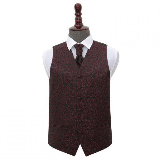 Black & Burgundy Swirl Wedding Waistcoat & Cravat Set