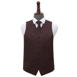 Black & Burgundy Swirl Wedding Waistcoat & Tie Set
