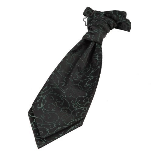 Black & Green Swirl Pre-Tied Wedding Cravat for Boys