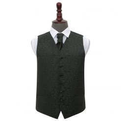 Black & Green Swirl Wedding Waistcoat & Cravat Set