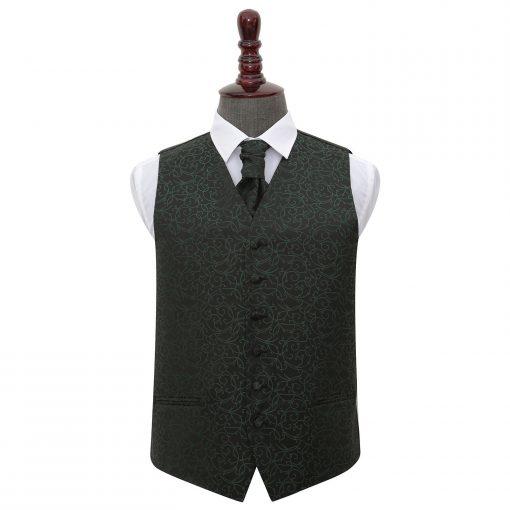 Black & Green Swirl Wedding Waistcoat & Cravat Set