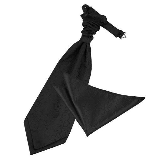 Black Swirl Wedding Cravat & Pocket Square Set