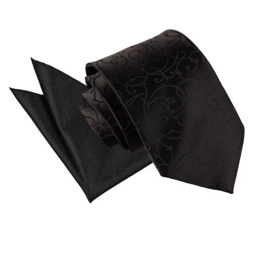Black Swirl Tie & Pocket Square Set