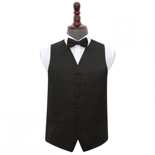 Black Swirl Wedding Waistcoat & Bow Tie Set