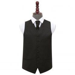 Black Swirl Wedding Waistcoat & Cravat Set