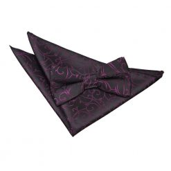 Black & Purple Swirl Bow Tie & Pocket Square Set