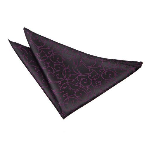 Black & Burgundy Swirl Handkerchief / Pocket Square