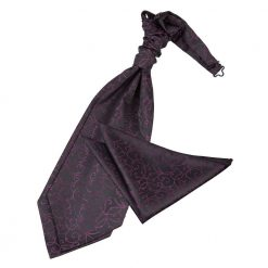 Black & Purple Swirl Wedding Cravat & Pocket Square Set