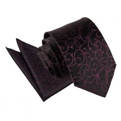 Black & Purple Swirl Tie & Pocket Square Set