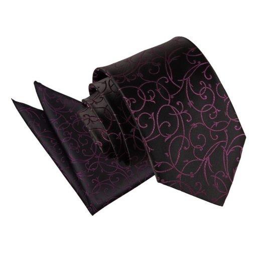 Black & Purple Swirl Tie & Pocket Square Set