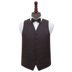 Black & Purple Swirl Wedding Waistcoat & Bow Tie Set