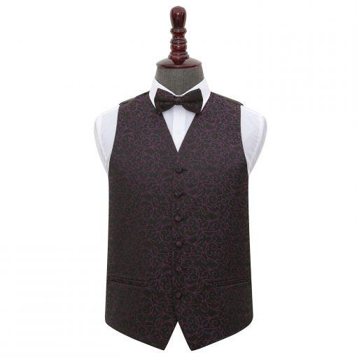 Black & Purple Swirl Wedding Waistcoat & Bow Tie Set