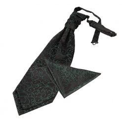 Black & Green Swirl Wedding Cravat & Pocket Square Set