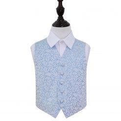 Baby Blue Swirl Wedding Waistcoat for Boys