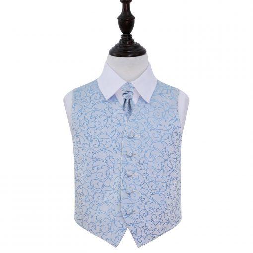 Baby Blue Swirl Wedding Waistcoat & Cravat Set for Boys