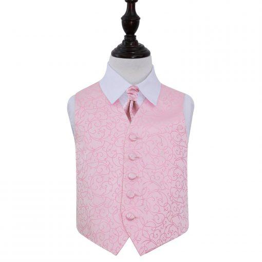 Baby Pink Swirl Wedding Waistcoat & Cravat Set for Boys