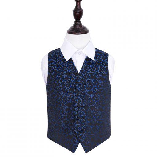 Black & Blue Swirl Wedding Waistcoat for Boys