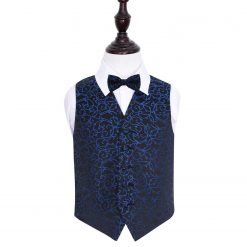 Black & Blue Swirl Wedding Waistcoat & Bow Tie Set for Boys