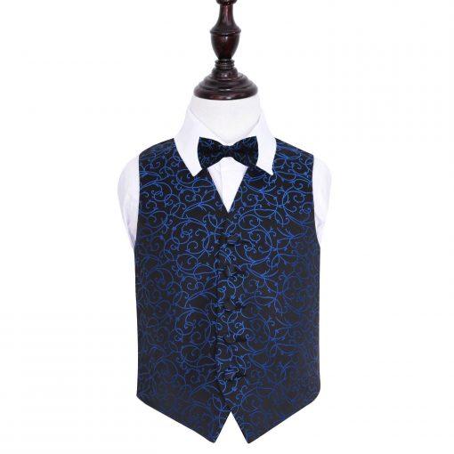 Black & Blue Swirl Wedding Waistcoat & Bow Tie Set for Boys