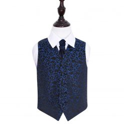cfc72c813944 Black & Blue Swirl Wedding Waistcoat & Cravat Set for Boys