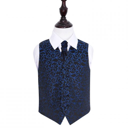 Black & Blue Swirl Wedding Waistcoat & Cravat Set for Boys