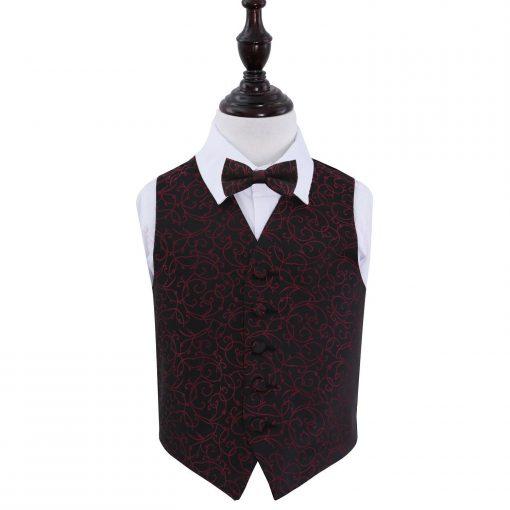 Black & Burgundy Swirl Wedding Waistcoat & Bow Tie Set for Boys