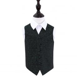 Black & Green Swirl Wedding Waistcoat for Boys