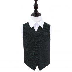Black & Green Swirl Wedding Waistcoat for Boys